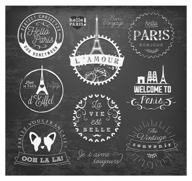 Paris Badges and Labels in Vintage Style on Chalkboard