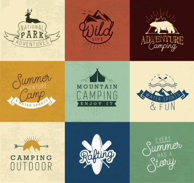 Camping Design Elements, Badges and Labels in Vintage Style
