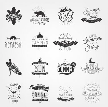 Summer, Camping and Beach Design Elements, Badges and Labels in Vintage Style