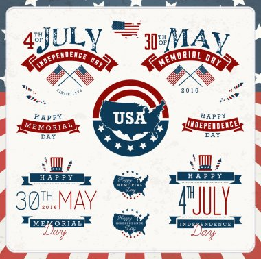 American Independence and Memorial Day Badges and Labels in Vintage Style
