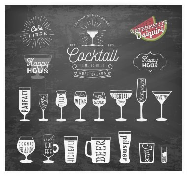 Typographical Drinks Design Elements in Vintage Style on Chalkboard