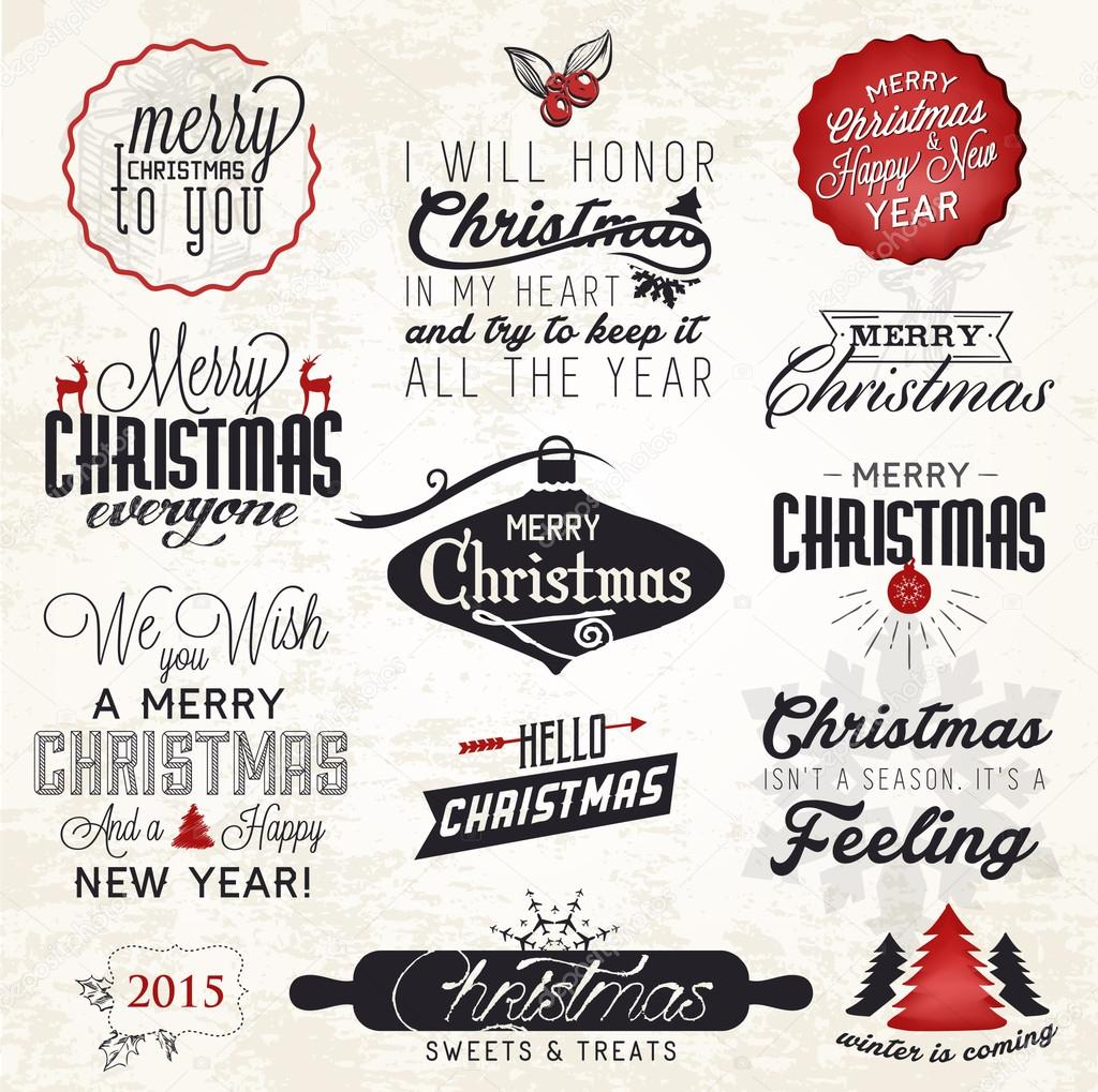 Christmas Greeting Card Badges and Labels. Vector Illustration ...