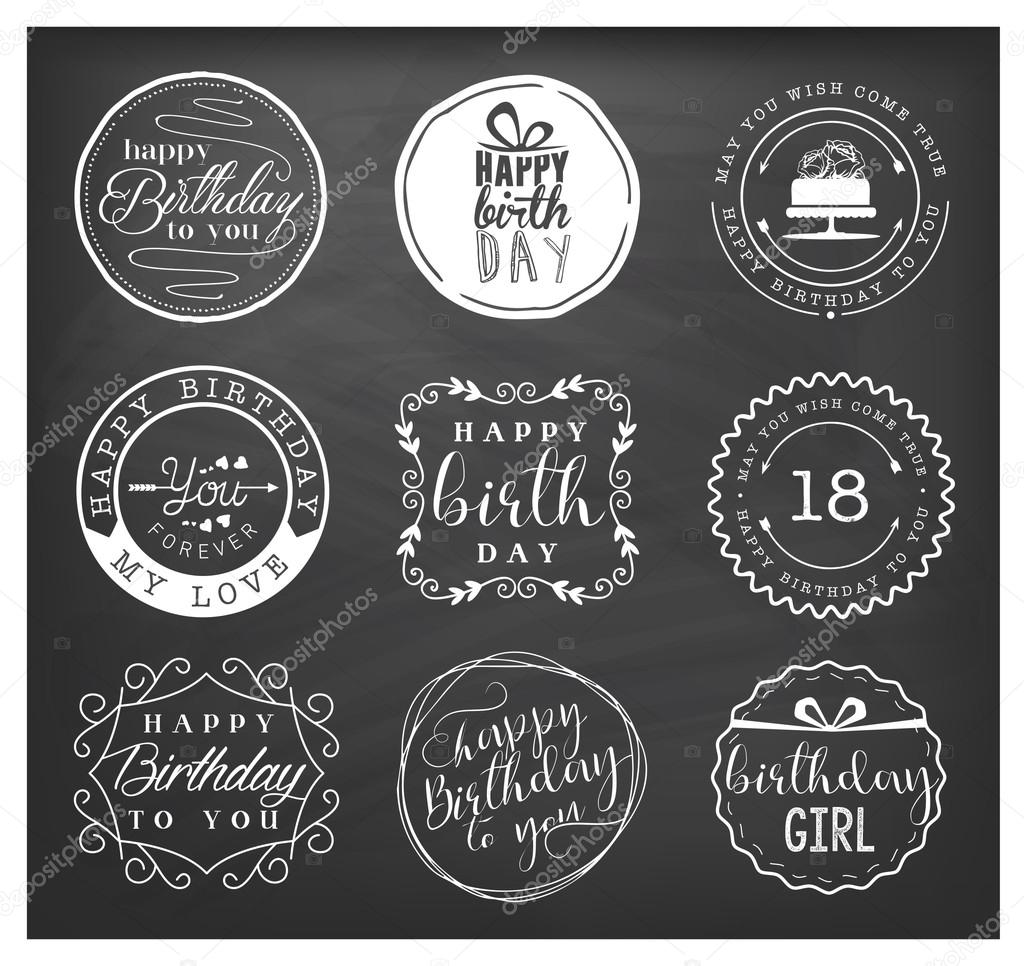 Happy Birthday Greeting Card Design Elements Badges And Labels In Vintage Style Stock Vector