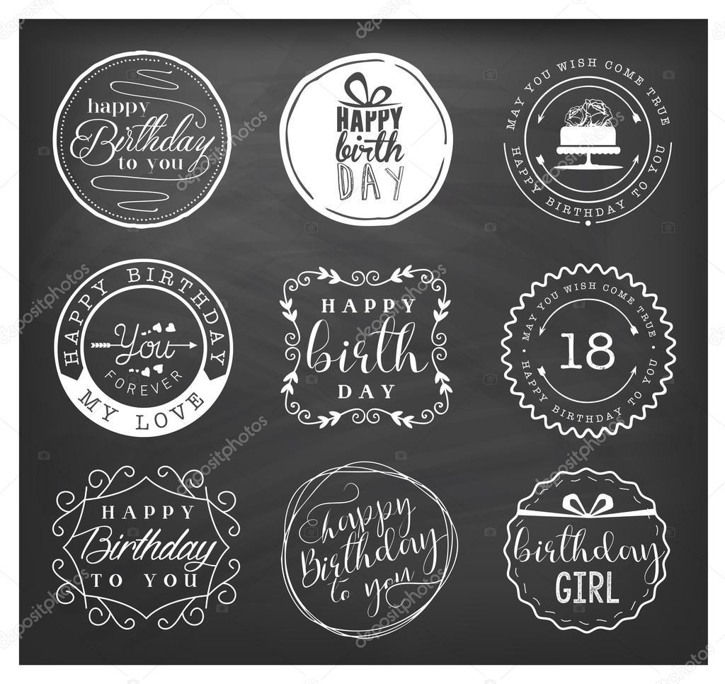 Happy birthday greeting card design elements badges and labels in happy birthday greeting card design elements badges and labels in vintage style stock vector m4hsunfo