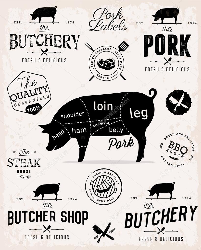 depositphotos_97824868 stock illustration pork cuts diagram and butcher pork cuts diagram and butcher shop badges, labels and design