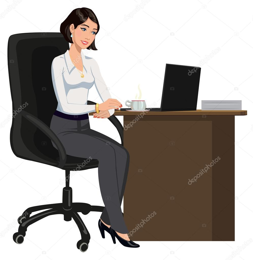 Фотообои Office woman behind a Desk with a laptop