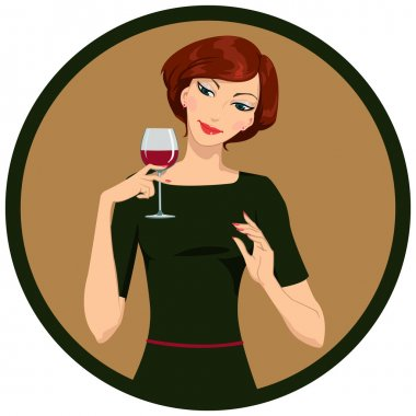 Beautiful girl is drinking white wine in a circle stock vector