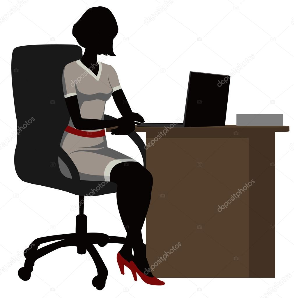 Silhouette office woman with a laptop — Stock Vector ...