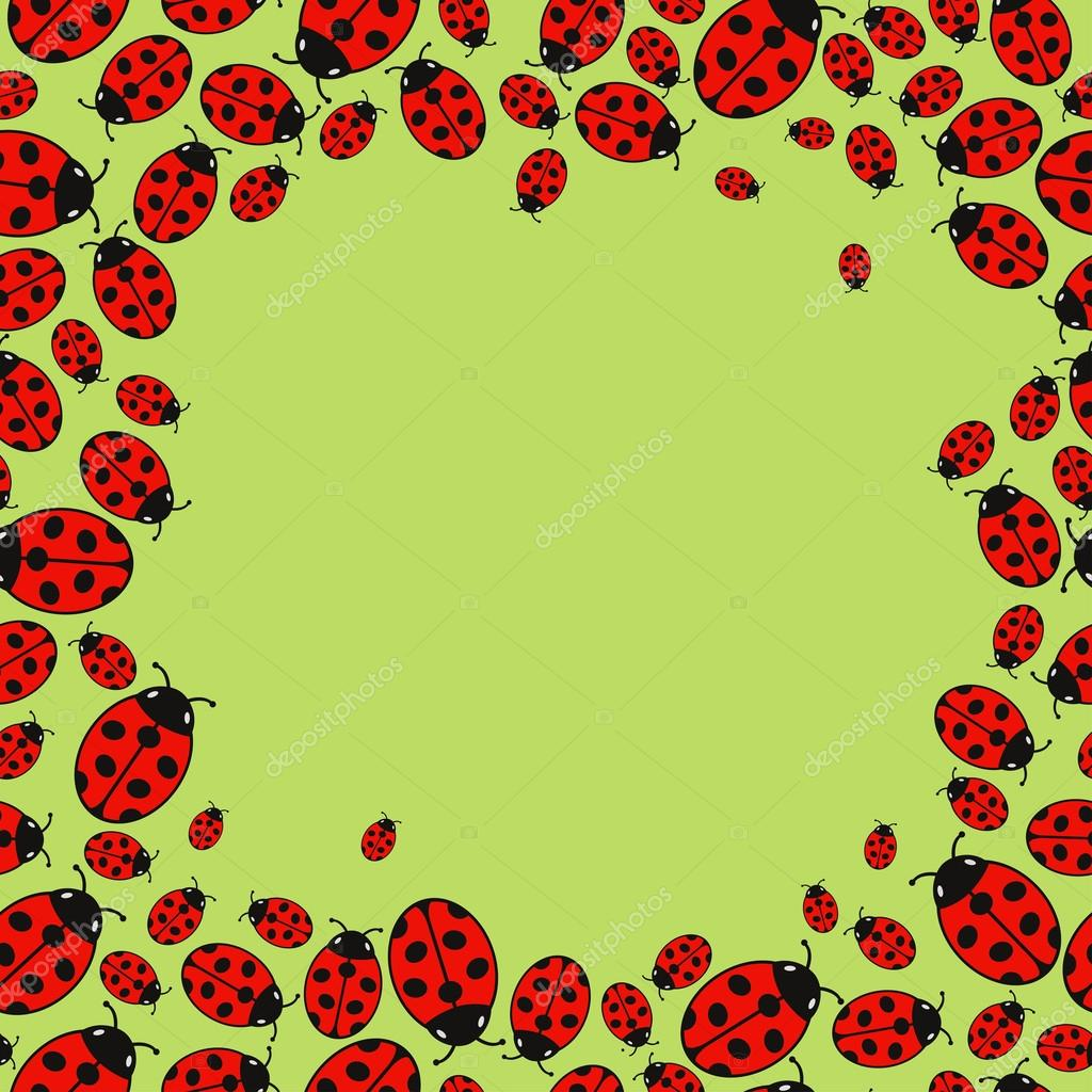 frame with variegated ladybugs � stock vector 169 stepangil7
