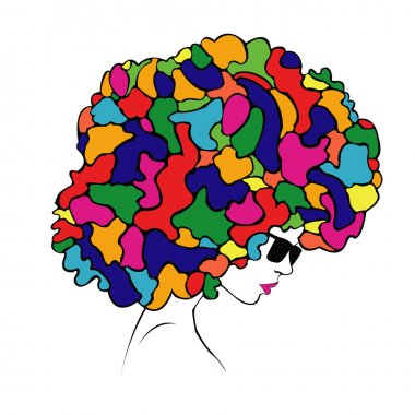 abstract colorful hair - Illustration