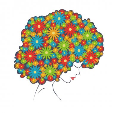 abstract colorful flowers hair - Illustration