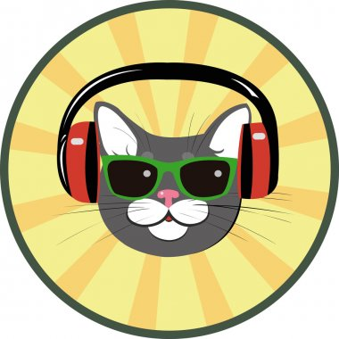 funny cat with headphones and sunglasses