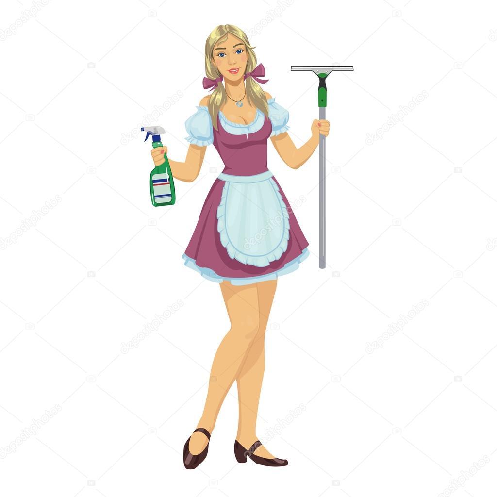 beautiful girl maid cleaner