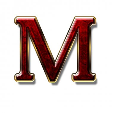 Letter M - precious stone is red