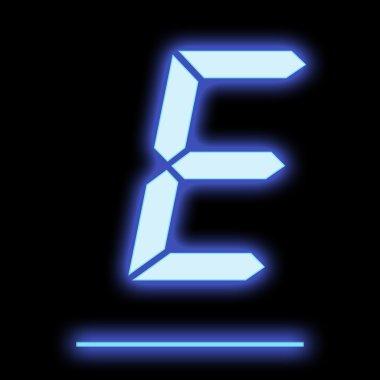 LED letter E blue color
