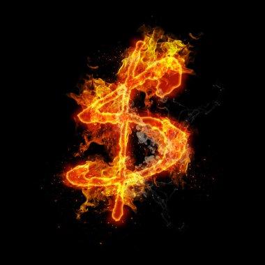 Siyah bir arka plan dolar işareti yanıyor