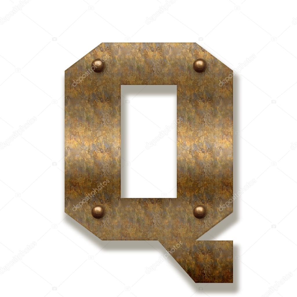 Rusty metal letter Q. Alphabet isolated on white background  Stock Photo  #82123466