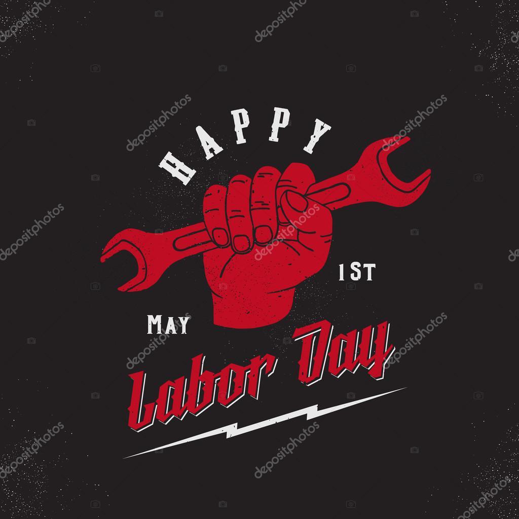 Feliz día del trabajo primero de mayo Vector Vintage Poster, tarjeta ...
