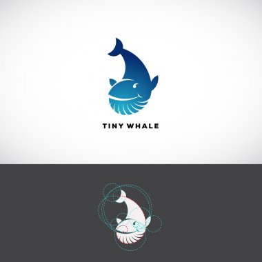 Tiny Whale Abstract Vector Logo Template. Flat Style Sign, Icon or Symbol Made With Golden Ratio Guides.