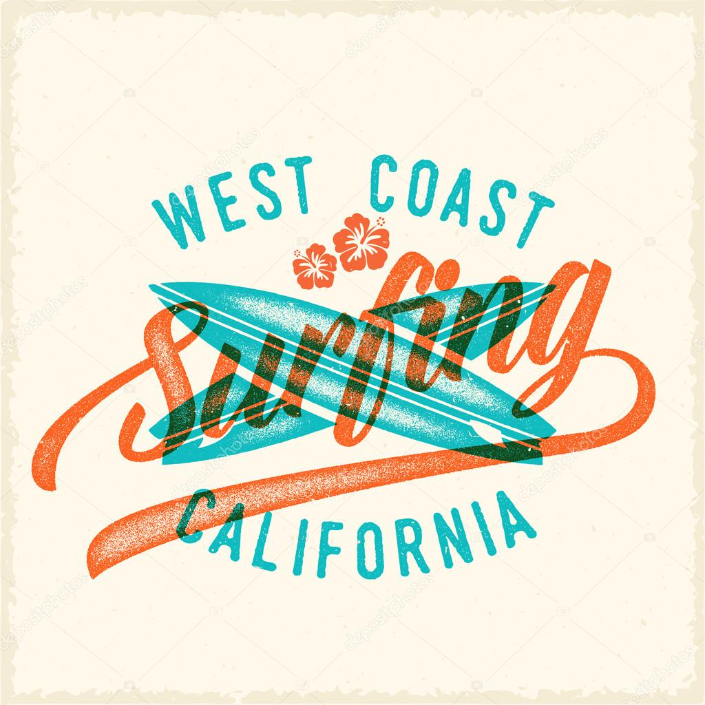 Estilo impresión retro surf Vector etiqueta o logotipo plantilla ...