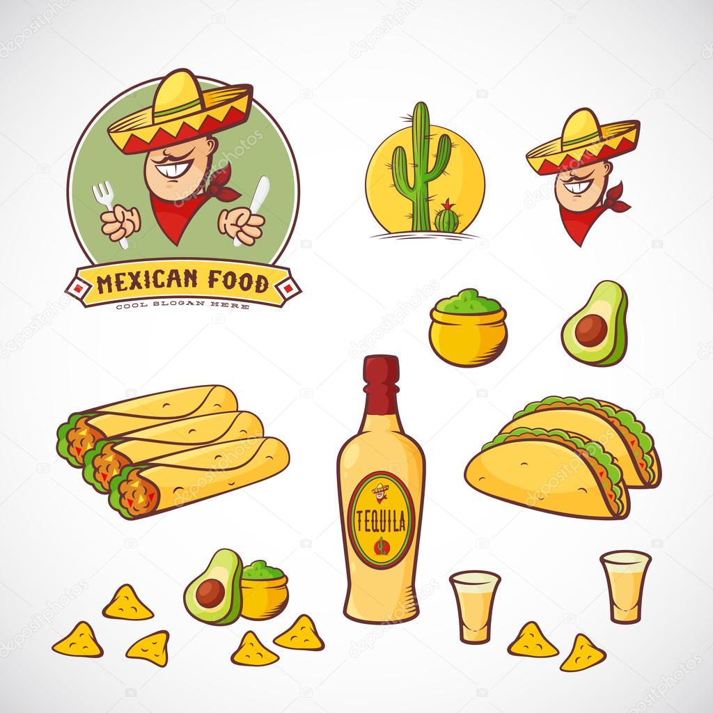メキシコ料理ベクトル イラストはレストランのメニューのカフェ食事