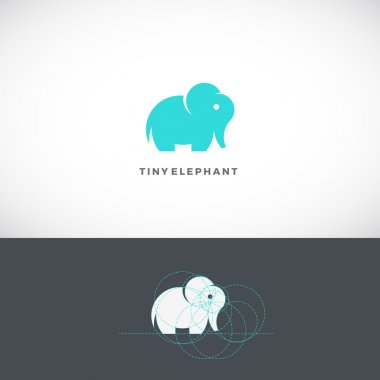 Tiny Elephant Abstract Vector Logo Template, Sign or Icon. Drawn with the Help of Golden Ratio.