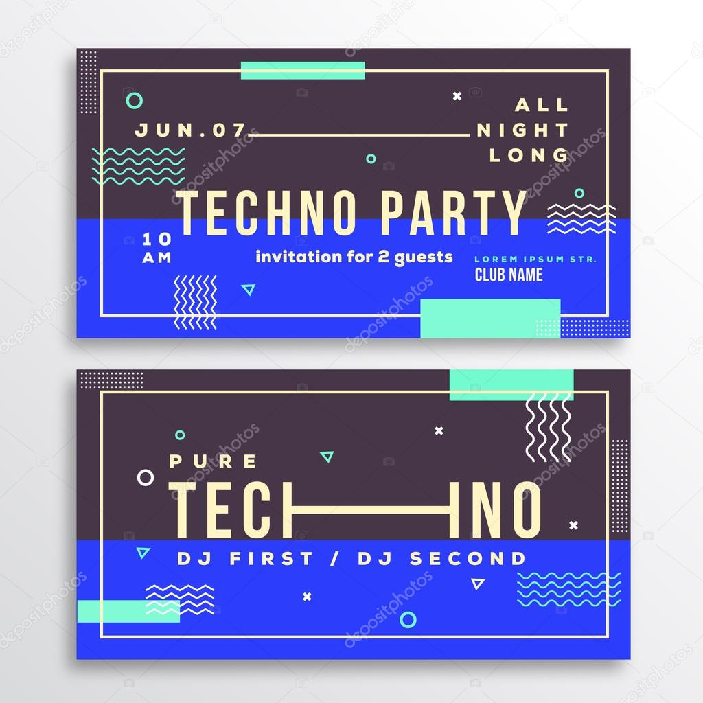 Night Techno Party Club Invitation Card or Flyer Template Modern – Invitation Flyer Template