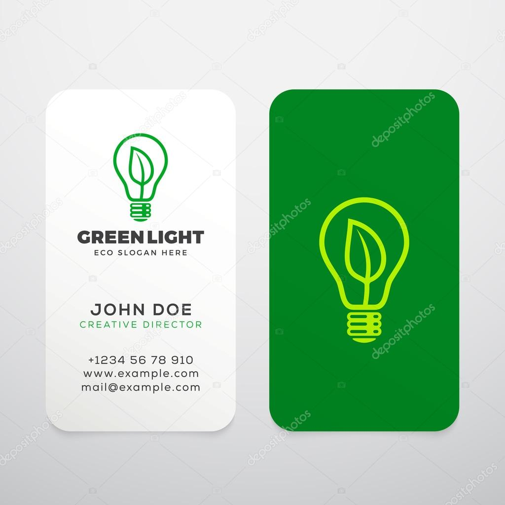 Green Light Vector Realistic Business Cards Template Or Mock Up