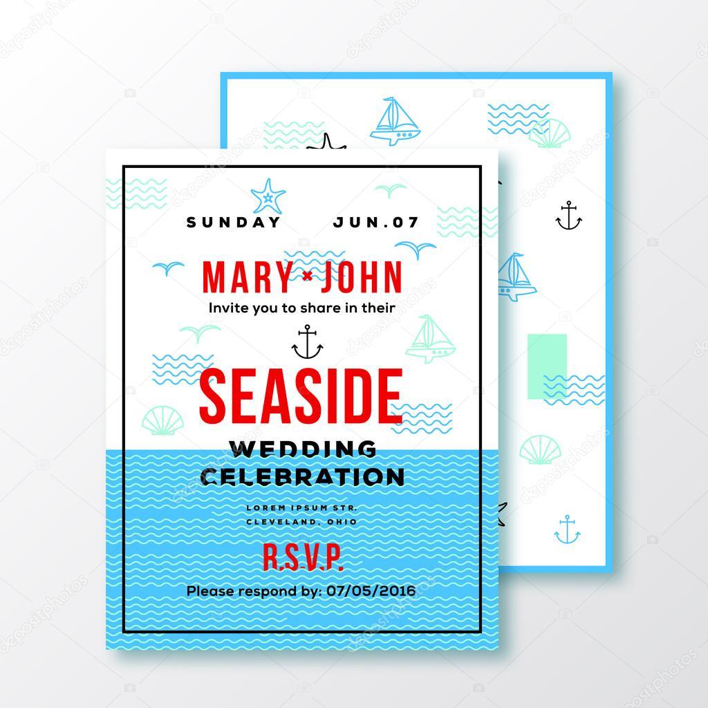 Sea Side Wedding Invitation Card or Ticket Template. Modern ...