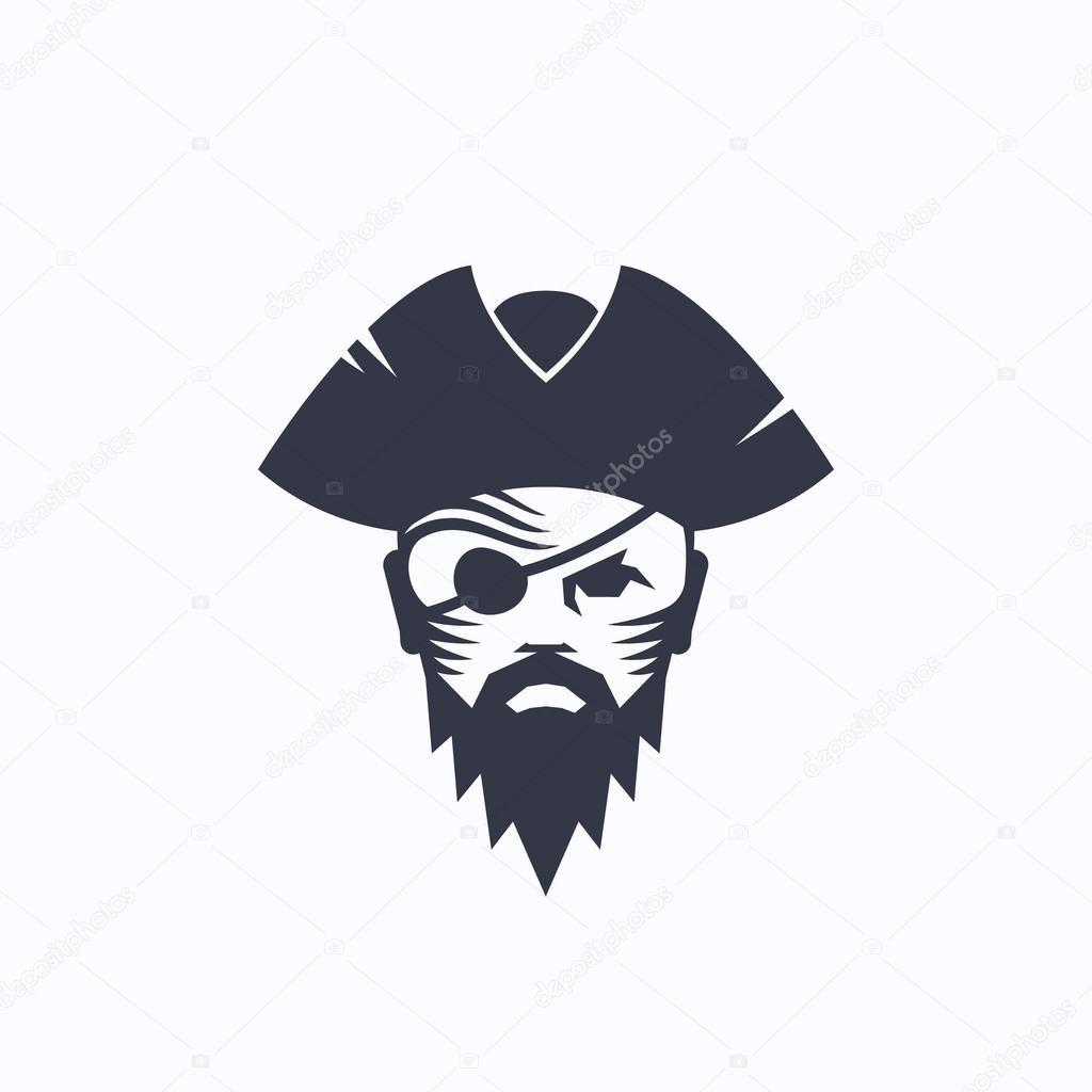 Pirate Head Abstract Vector Logo Template Sailor Face With An Eye Patch In A Hat
