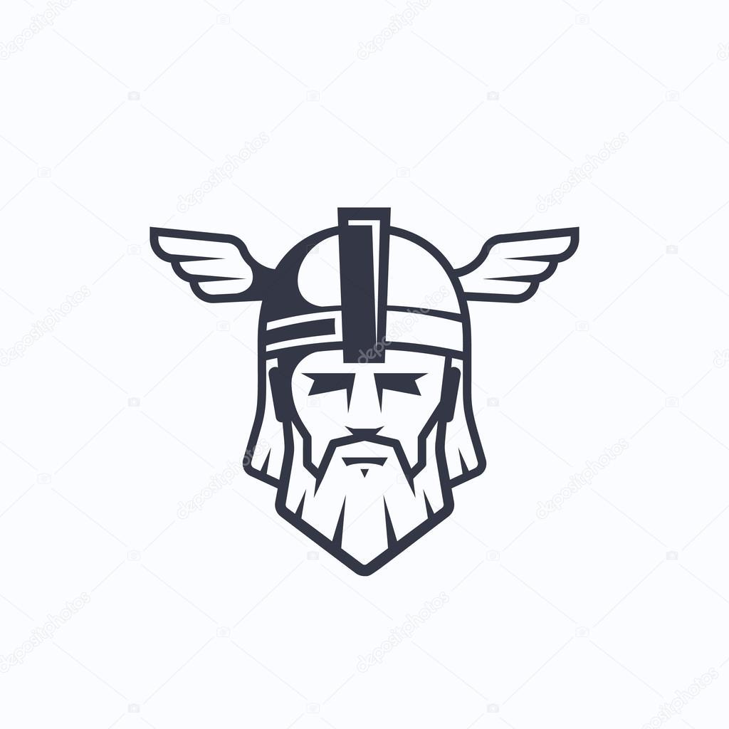 Odin-Vektor-Sport-Team oder Liga-Logo-Vorlage. Viking-Gesicht mit ...