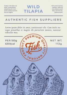 River Fish Abstract Vector Packaging Design or Label. Modern Typography Banner, Hand Drawn Tilapia Silhouette with Lettering Logo Stamp. Color Paper Background Layout. Isolated. icon