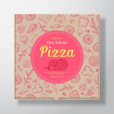 Hot Salami Pizza Realistic Cardboard Box. Abstract Vector Packaging Design or Label. Modern Typography, Sketch Seamless Pattern of Cheese, Tomato, Sausages. Craft Paper Background Layout. Isolated. icon