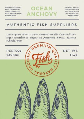 Ocean Fish Abstract Vector Packaging Design or Label. Modern Typography Banner, Hand Drawn Anchovy Silhouette with Lettering Logo Stamp. Color Paper Background Layout. Isolated. icon