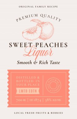 Family Recipe Peaches Liquor Acohol Label. Abstract Vector Packaging Design Layout. Modern Typography Banner with Hand Drawn Peach with a Slice Silhouette Logo and Background. Isolated. icon