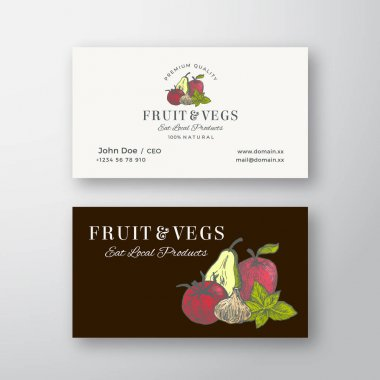Local Fruits and Vegetables Sketch Abstract Vector Sign or Logo and Business Card Template. Premium Stationary Realistic Mock Up. Hand Drawn Pear, Apple, Tomato, Basil and Garlic. Isolated. icon