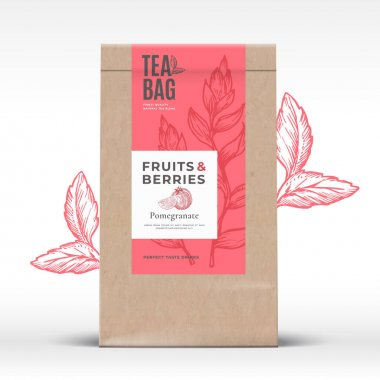 Craft Paper Bag with Fruit and Berries Tea Label. Abstract Vector Packaging Design Layout with Realistic Shadows. Modern Typography, Hand Drawn Pomegranate and Leaves Silhouettes Background. Isolated. icon