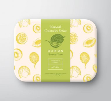 Durian Bath Cosmetics Package Box. Abstract Vector Wrapped Paper Container with Label Cover. Packaging Design. Modern Typography and Hand Drawn Exotic Fruits Background Pattern Layout. Isolated. icon