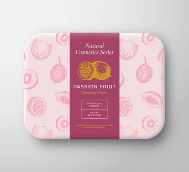 Passion Fruit Bath Cosmetics Package Box. Abstract Vector Wrapped Paper Container with Label Cover. Packaging Design. Modern Typography and Hand Drawn Exotic Fruits Background Pattern Layout Isolated. icon
