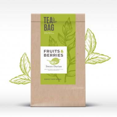 Craft Paper Bag with Fruit and Berries Tea Label. Abstract Vector Packaging Design Layout with Realistic Shadows. Modern Typography, Hand Drawn Durian and Leaves Silhouettes Background. Isolated. icon