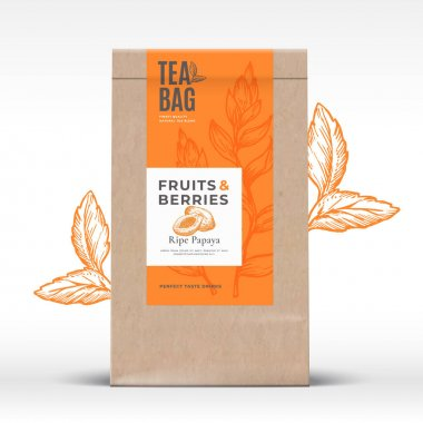Craft Paper Bag with Fruit and Berries Tea Label. Abstract Vector Packaging Design Layout with Realistic Shadows. Modern Typography, Hand Drawn Papaya and Leaves Silhouettes Background. Isolated. icon