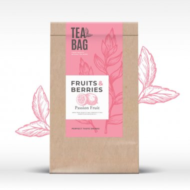 Craft Paper Bag with Fruit and Berries Tea Label. Abstract Vector Packaging Design Layout with Realistic Shadows. Modern Typography Hand Drawn Passion Fruit and Leaves Silhouettes Background Isolated icon