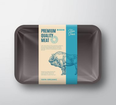 Premium Quality Bison Pack. Abstract Vector Meat Plastic Tray Container with Cellophane Cover. Packaging Design Label. Modern Typography and Hand Drawn Buffalo Silhouette Background Layout. Isolated. icon