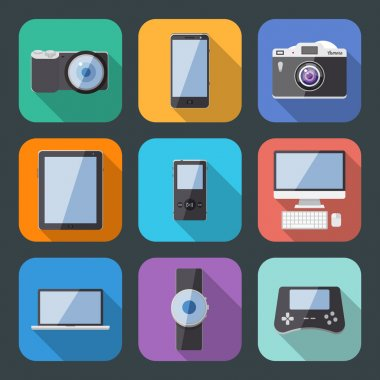 Flat Style Electronics Gadget Vector Icon Set