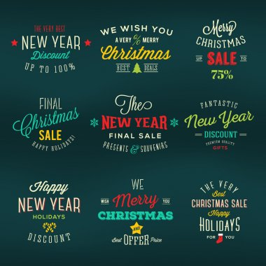 Christmas and New Year Vintage Labels Holiday Sales Discounts Typography