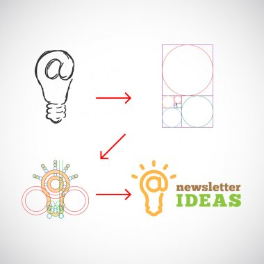Newsletter Ideas Abstract Vector Logo Template from Idea to Implementation with Golden Ratio