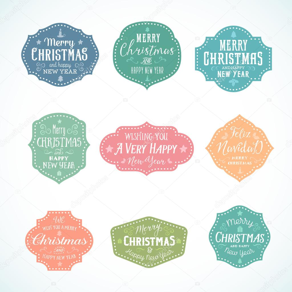 vintage typography soft color cute christmas vector badges set with candle star gift borders and tree isolated vector by createvil