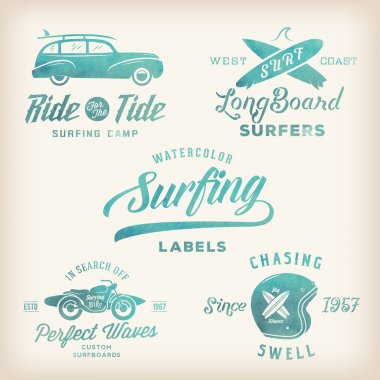 Vector Watercolor Retro Style Surfing Labels, Logos or T-shirt Graphic Design Featuring Surfboards, Surf Woodie Car, Motorcycle Silhouette, Helmet etc.
