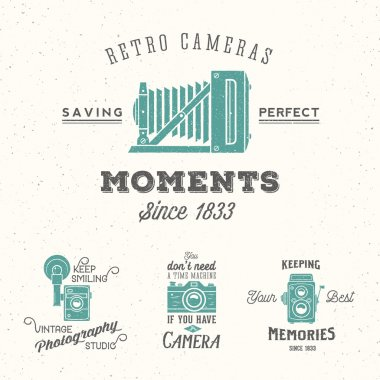 Retro Camera Photography Set. Vector Labels or Logos with Typography