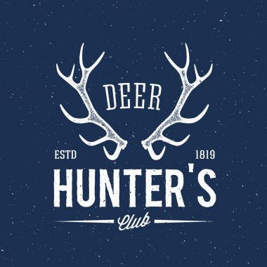 Deer Hunters Club Abstract Vintage Label or Logo Template with Antlers and Retro Typography